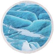 Round Beach Towel featuring the photograph Blue Ice Svinafellsjokull Glacier Iceland by Matthias Hauser