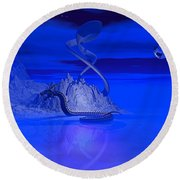 Blue Ice World Dragon Round Beach Towel