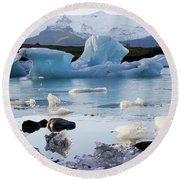 Blue Iceberg And Ice Crystals Round Beach Towel