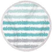 Blue Ikat Stripe- Art By Linda Woods Round Beach Towel