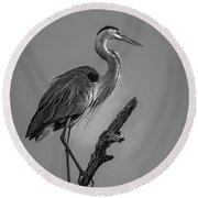 Blue In Black-bw Round Beach Towel by Marvin Spates