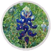 Round Beach Towel featuring the painting Blue In Bloom 2 by Hailey E Herrera