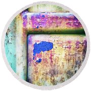 Round Beach Towel featuring the photograph Blue In Iron Door by Silvia Ganora