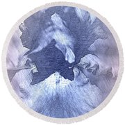 Blue Iris Abstract Round Beach Towel