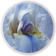Blue Iris Fog Round Beach Towel
