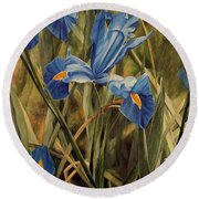 Round Beach Towel featuring the painting Blue Iris by Laurie Rohner