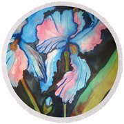 Blue Iris Round Beach Towel by Lil Taylor