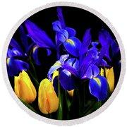 Blue Iris Waltz By Karen Wiles Round Beach Towel by Karen Wiles