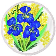 Blue Irises And Mimosa Round Beach Towel