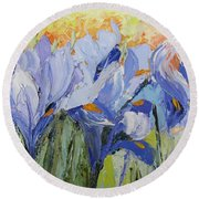 Blue Irises Palette Knife Painting Round Beach Towel