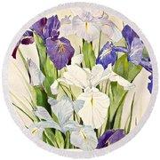 Blue Irises-posthumously Presented Paintings Of Sachi Spohn  Round Beach Towel