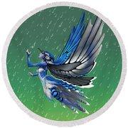 Blue Jay Fairy Round Beach Towel