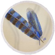 Round Beach Towel featuring the drawing Blue Jay Feathers by J R Seymour