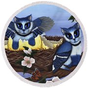 Round Beach Towel featuring the painting Blue Jay Kittens by Carrie Hawks