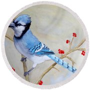 Round Beach Towel featuring the painting Blue Jay by Laurel Best