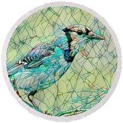 Blue Jay Mosaic Round Beach Towel