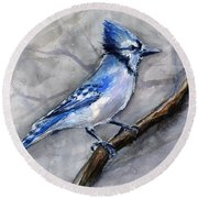 Blue Jay Watercolor Round Beach Towel