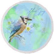Round Beach Towel featuring the photograph Blue Jay Watercolor Photo by Heidi Hermes
