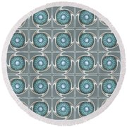 Round Beach Towel featuring the digital art Blue Kaleidoscope Swirl by Ellen O'Reilly
