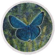 Blue Karner Butterfly Watercolor Batik Round Beach Towel