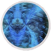 Blue Kitty Round Beach Towel