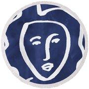 Blue Lady- Art By Linda Woods Round Beach Towel