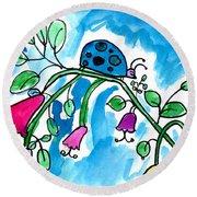 Blue Ladybug Round Beach Towel