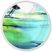 Round Beach Towel featuring the painting Blue Lagoon by Anil Nene