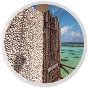 Round Beach Towel featuring the photograph Blue Lagoon View 1 by Jenny Rainbow