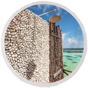 Round Beach Towel featuring the photograph Blue Lagoon View by Jenny Rainbow