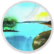 Round Beach Towel featuring the painting Blue Lake by Anil Nene