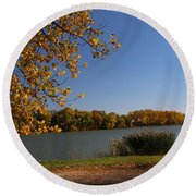 Round Beach Towel featuring the photograph Blue Lake In Fall by Yumi Johnson