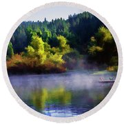 Blue Lake Spring Misty Geese  Round Beach Towel