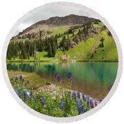 Blue Lakes Summer Splendor Round Beach Towel