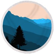 Blue Landscape Round Beach Towel by Thomas M Pikolin