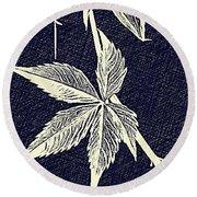 Blue Leaf Round Beach Towel