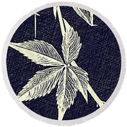 Blue Leaf Round Beach Towel