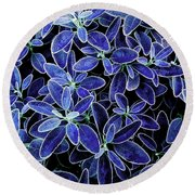 Blue Leaves Round Beach Towel