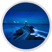 Blue Lighthouse Round Beach Towel