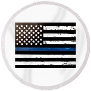 Round Beach Towel featuring the painting Blue Line Flag by Denise Tomasura