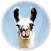 Blue Llama Round Beach Towel