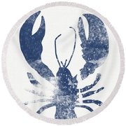 Blue Lobster- Art By Linda Woods Round Beach Towel by Linda Woods