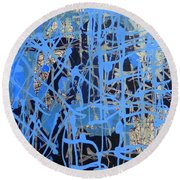 Blue Round Beach Towel by Lori Seaman