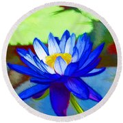 Round Beach Towel featuring the painting Blue Lotus Flower by Lanjee Chee