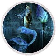Blue Lotus Mermaid Round Beach Towel