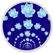 Blue Lotus Tunnel Round Beach Towel by Samantha Thome