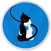 Blue Love Cats Round Beach Towel