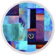 Round Beach Towel featuring the digital art Blue Love by Nancy Merkle