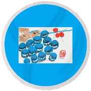 blue Macaroons for golden gal Round Beach Towel