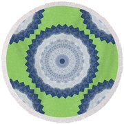 Blue Mandala- Art By Linda Woods Round Beach Towel by Linda Woods